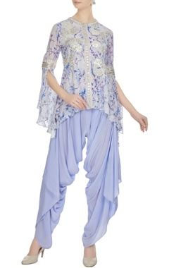 Ritika Mirchandani Purple floral printed crepe silk kurta with dhoti pants