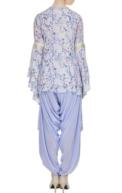 Purple floral printed crepe silk kurta with dhoti pants