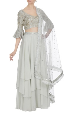 Ritika Mirchandani Grey resham gold embroidered flutter sleeve blouse with tier skirt and dupatta