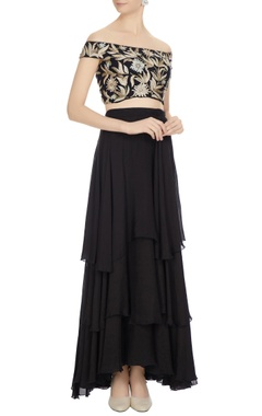 Ritika Mirchandani Black resham gold embroidered off-shoulder blouse with tiered skirt