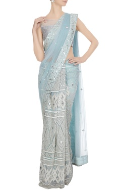 Ritika Mirchandani Powder blue mirror & resham embroidered saree with blouse
