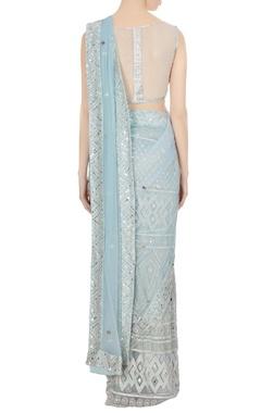 Powder blue mirror & resham embroidered saree with blouse