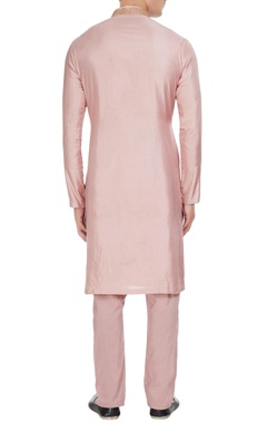 Pink hand embroidered aari work kurta with churidar