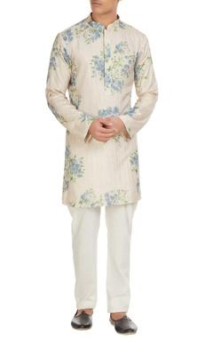 SVA - Sonam and Paras Modi - Men White floral printed kurta with spun silk churidar