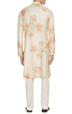 White & orange floral printed kurta with churidar