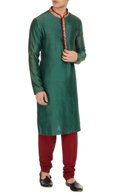 Emerald green cotton silk kurta with red spun silk churidar