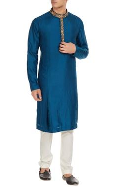 SVA - Sonam and Paras Modi - Men Blue banarasi silk embroidered kurta with spun silk churidar