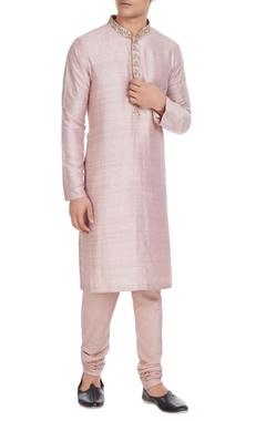 SVA - Sonam and Paras Modi - Men Pink raw silk kurta with embroidered collar & spun silk churidar
