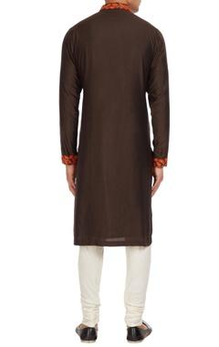 Brown cotton silk embroidered collar kurta with off-white spun silk churidar