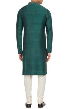 Green raw silk kurta with spun silk churidar