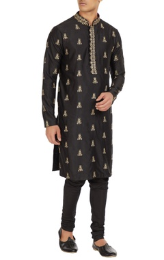 SVA - Sonam and Paras Modi - Men Black zari embroidered raw silk kurta with spun silk churidar