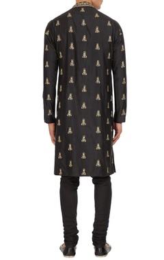 Black zari embroidered raw silk kurta with spun silk churidar