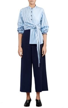 Coastline blue banana crepe trousers