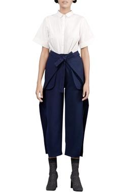 Coastline blue banana crepe 70s trousers