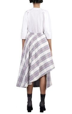 Multicolored check printed asymmetric skirt