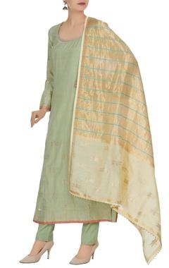 Banarasi brocade cotton silk long sleeve kurta set