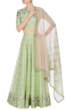Hand-woven cotton silk butterfly lehenga set