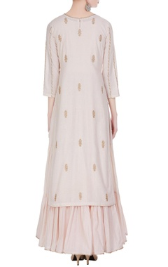Embroidered kurta with tiered pleated inner.