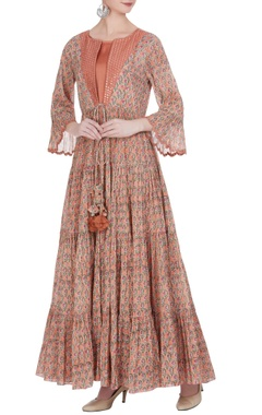 Punit Balana tiered pleated printed long maxi dress