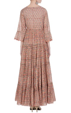 tiered pleated printed long maxi dress