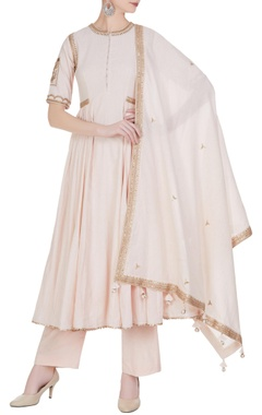 Punit Balana Flared embroidered short anarkali kurta with pants and dupatta.