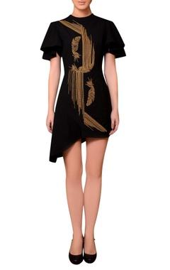 Nitin Bal Chauhan Black satin bead hand embroidered dress