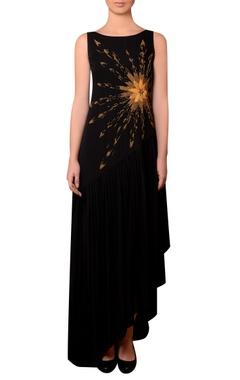 Nitin Bal Chauhan Black viscose georgette bead & thread hand embroidered dress
