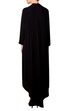 Black viscose georgette bead hand embroidered dress