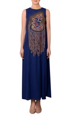 Nitin Bal Chauhan Royal blue viscose georgette bead & thread hand embroidered dress