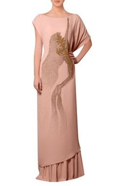 Nitin Bal Chauhan Peach viscose georgette bead hand embroidered dress