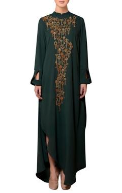 Nitin Bal Chauhan Dark green viscose georgette bead & thread hand embroidered dress
