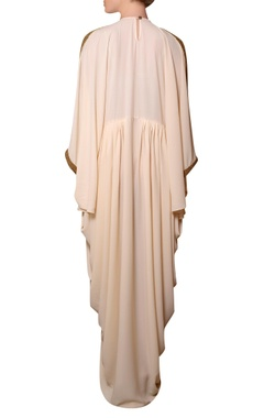 Peach viscose georgette bead hand embroidered dress