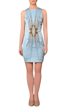 Nitin Bal Chauhan Light blue satin bead & thread hand embroidered dress