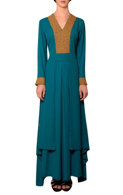 Nitin Bal Chauhan Teal blue viscose georgette bead & thread hand embroidered kurta with pleated palazzos