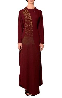 Nitin Bal Chauhan Wine viscose georgette bead hand embroidered dress