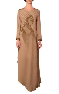 Nitin Bal Chauhan Beige viscose georgette bead hand embroidered dress