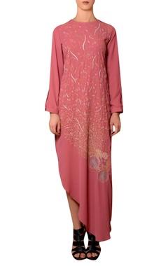 Nitin Bal Chauhan Dark peach viscose georgette thread hand embroidered dress
