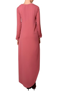Dark peach viscose georgette thread hand embroidered dress