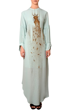 Nitin Bal Chauhan Mint blue viscose georgette bead & thread hand embroidered dress