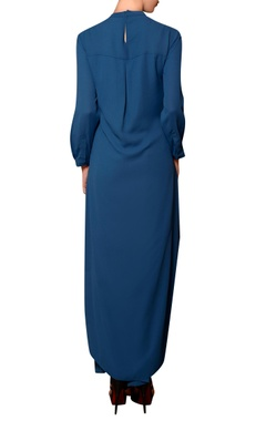 Teal blue viscose georgette bead & thread hand embroidered kurta with pleated palazzos