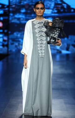 Nitin Bal Chauhan White & grey scuba & poly wool bow detailed maxi dress
