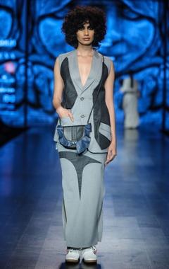 Nitin Bal Chauhan Grey & light grey poly cotton solid waist coat with maxi skirt