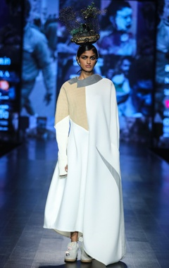 White scuba solid maxi dress