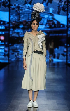 Nitin Bal Chauhan Grey poly cotton chequered deconstructed waist coat with solid flared culottes