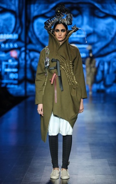 Military green wool embellished over coat with white egyptian cotton tunic & black scuba pants