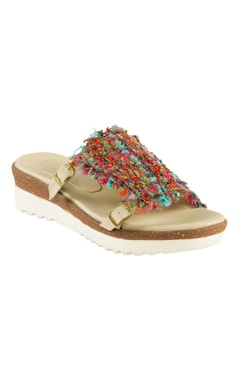 Beige jute rosella jute thread detailed slip-on sandals