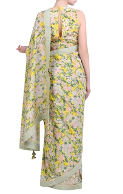 Yellow crepe bibi jaal printed half-and-half sari with embroidered jaal blouse