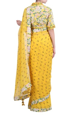 Yellow chiffon printed sari with embroidered & jaal printed blouse