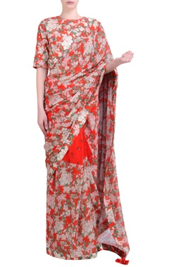 Carrot orange georgette bibi jaal & bouquet printed half-and-half sari with embroidered blouse