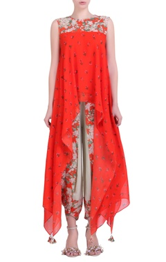 Carrot orange crepe jaal & bouquet printed asymmetrical top with jade cowl dhoti